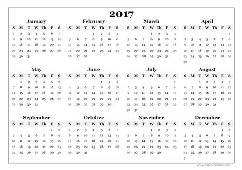 C2017 Calendar 2017 Yearly Blank Calendar Template Free Printable Templates