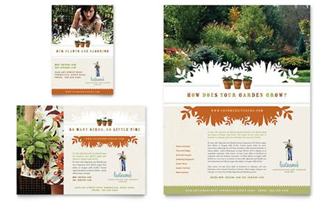 landscape garden store brochure template word publisher