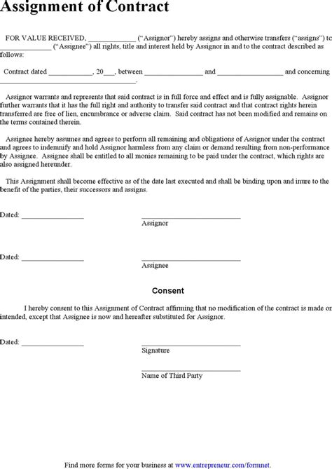 Contract Assignment Letter assignment of contract for free tidyform