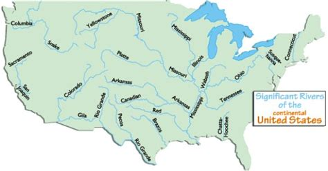 united states map with rivers names usa major rivers and mountains headwatersof rivers in