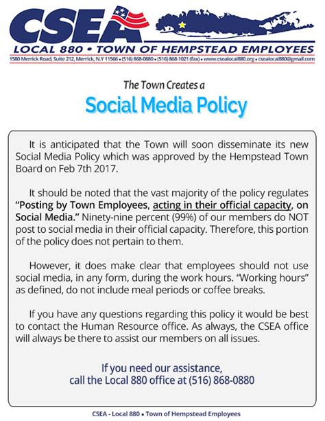 Social Media Policy Notice Csea Local 880 Town Of Hempstead Employees Social Media Policy Template For Enforcement
