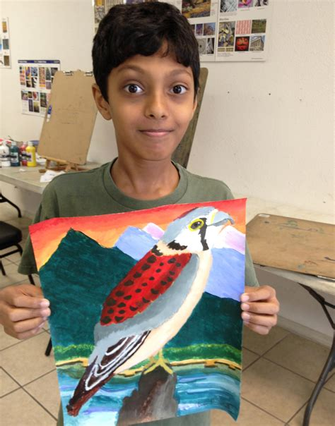 painting for 9 year olds hawk acrylic on paper by 11 year student classes