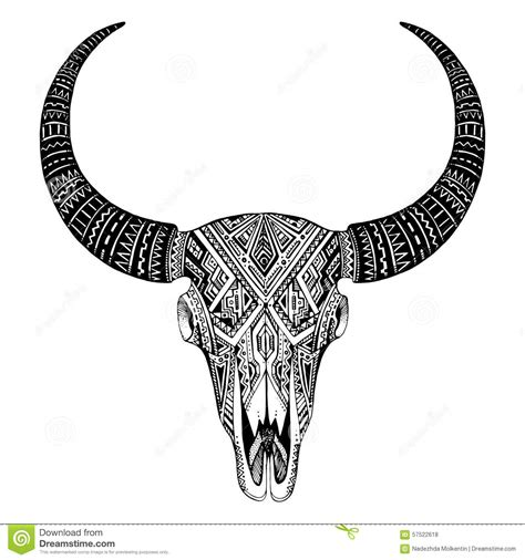 tribal bull skull tattoos decorative indian bull skull in tribal style with