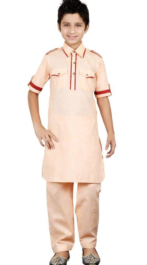 peach color cotton kurta pajama set 5078 light peach linen cotton kid boy kurta pajama gr24213