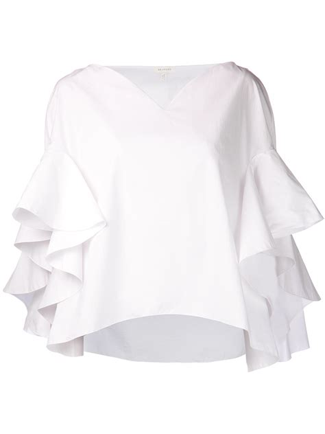 Ruffle Blouse White Sleeve by Lyst Delpozo Ruffle Sleeve Blouse In White