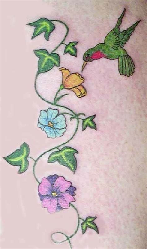 flower vine n green hummingbird tattoo design tattoos