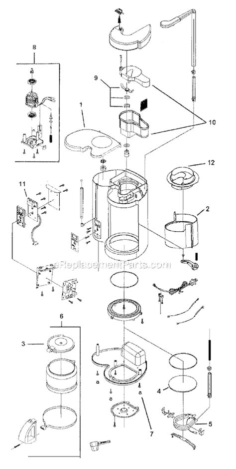 mr coffee parts diagram mr coffee gbx12 parts list and diagram