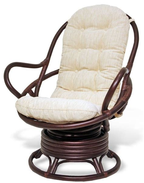 Swivel Rocking Chair Java Eco Handmade Rattan W Thick Swivel Chair Cushions