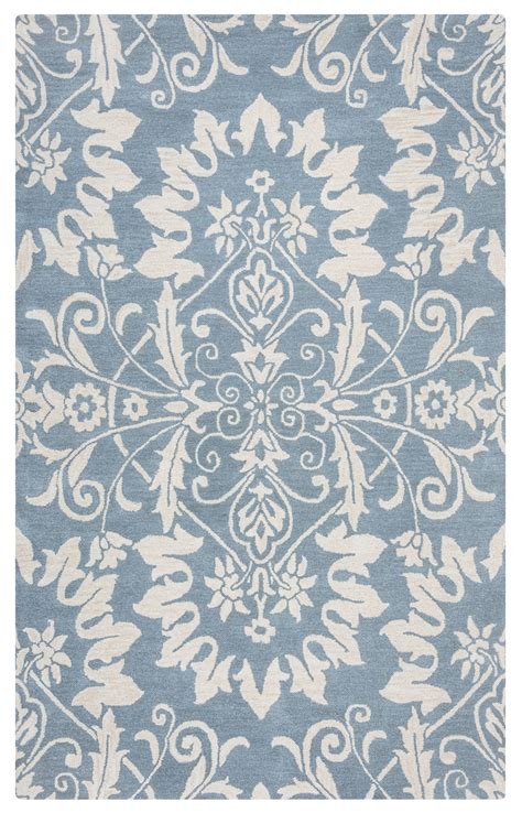 Pattern Area Rugs Marianna Fields Ornate Damask Pattern Wool Area Rug In Blue White 9 X 12