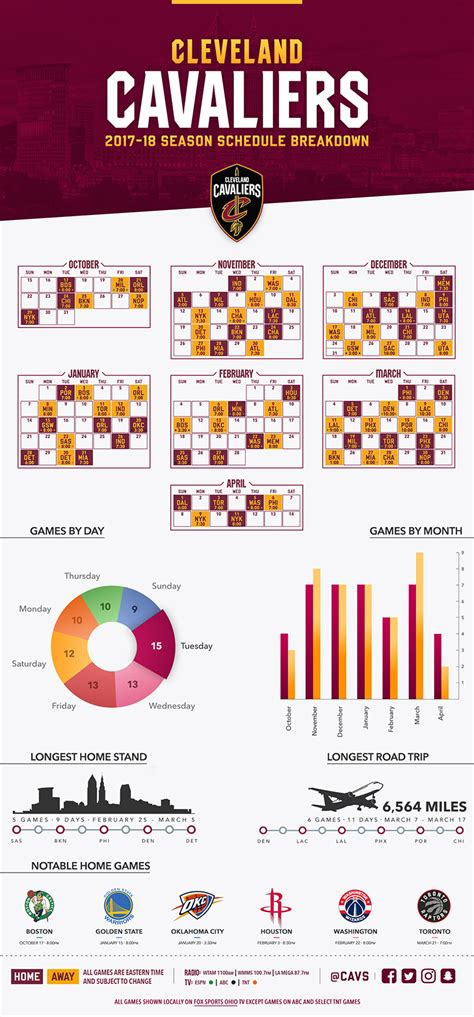 printable daily nba schedule 2017 18 schedule infographic cleveland cavaliers