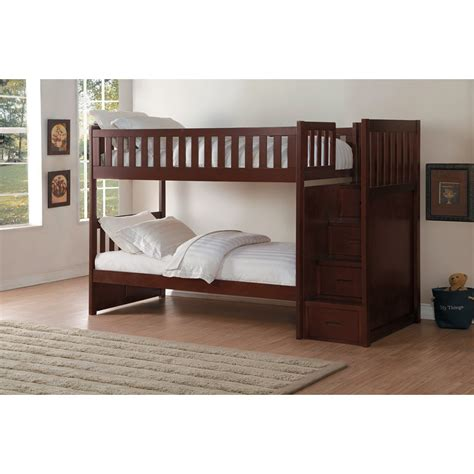 twin over twin bunk beds with storage homelegance rowe twin over twin storage bunk bed hudson