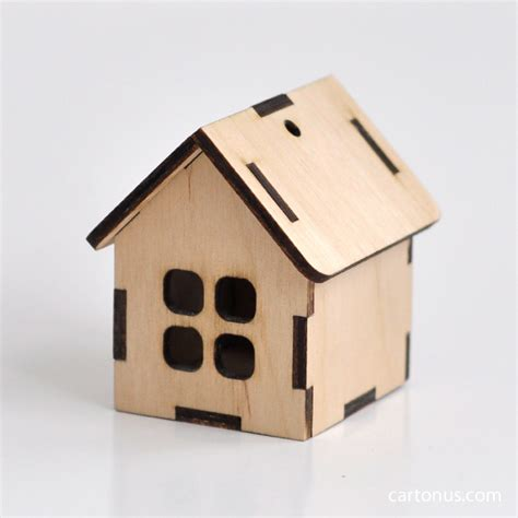 Small Wooden Houses Cartonus Laser Cut House Template