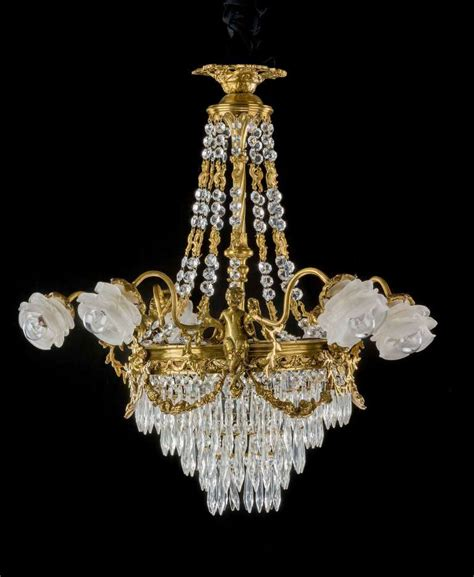 Glass Arm Chandelier Late 19th Century Gilt Bronze And Cut Glass Six Arm Chandelier For Sale At 1stdibs