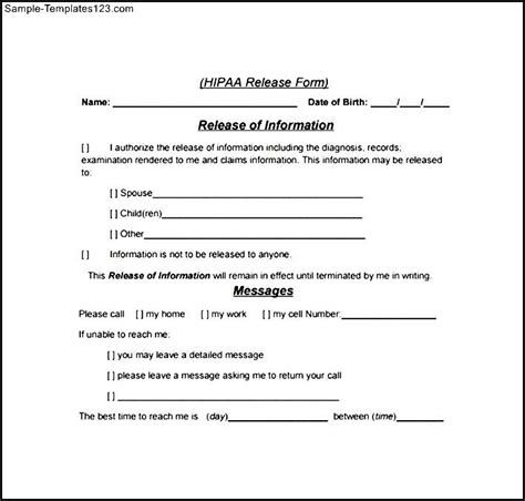 hipaa authorization form 10 medical release forms free
