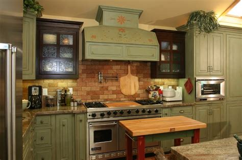 Green Country Kitchen Farmhouse Green Kitchen Cabinets Quicua