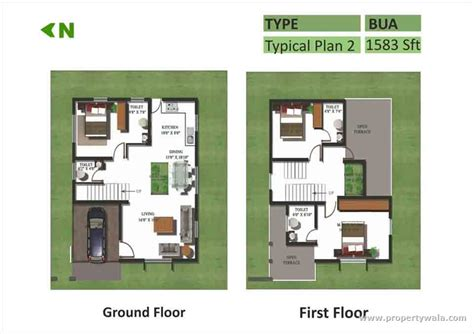 ground and first floor plans kristal chrysolite sarjapur bangalore residential