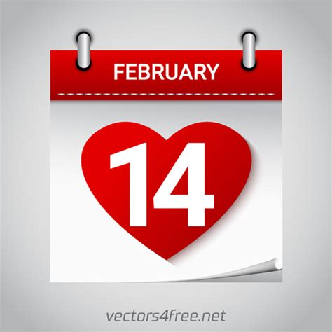 day 1 feb to 14 feb free vector valentines day february 14 calendar icon