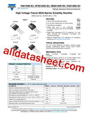 transistor datasheet vishay v30120s datasheet pdf vishay siliconix