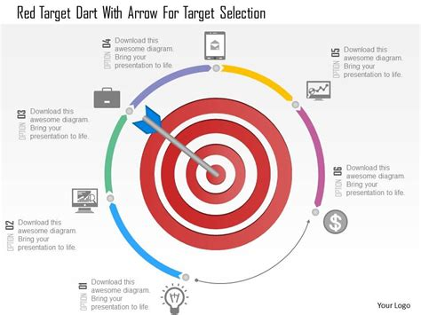 1214 Red Target Dart With Arrow For Target Selection Powerpoint Template Powerpoint Target Powerpoint Template