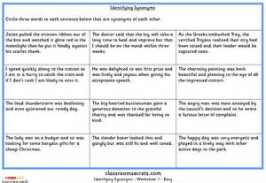 identifying synonyms ks2 spag test practice classroom