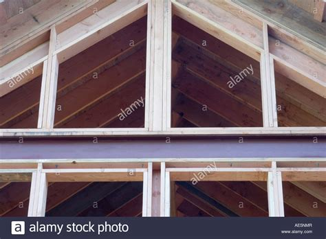 metal and wood framing of room with cathedral ceilings and