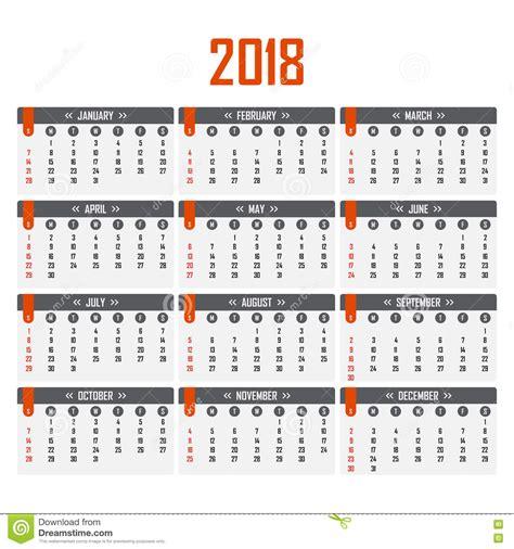 Calendario N Semanas Calendario Para 2018 Comienzo De La Semana El Domingo