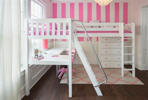 White Loft Bed With Desk Underneath by L Shaped White Stained Wooden Loft Bed With Two Ladder