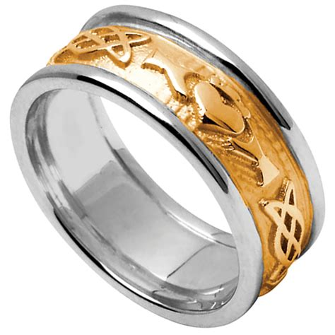 claddagh ring s yellow gold with white gold trim