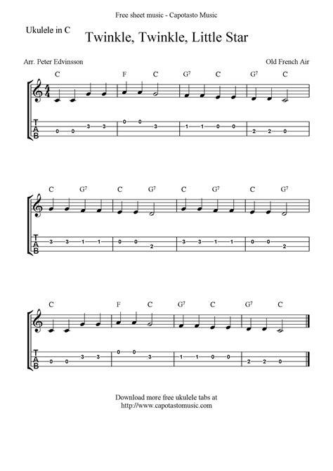 ukulele keyboard tutorial quot twinkle twinkle little star quot ukulele sheet music free