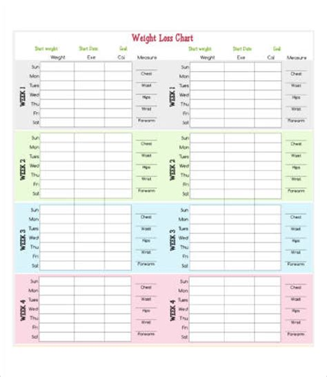 weight loss calendar template 8 weekly weight loss chart template free premium templates