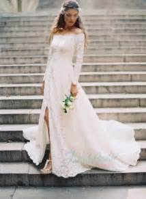 jol250 amazing all lace off shoulder long sleeves boho wedding dress 2196848 weddbook