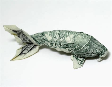 Origami Dollar Bill Fish - book on altered books warehouses and maps