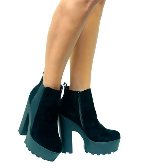 womens chunky cleated tractor sole platform high