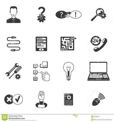 Set Aa Black White black and white support icon set stock vector image