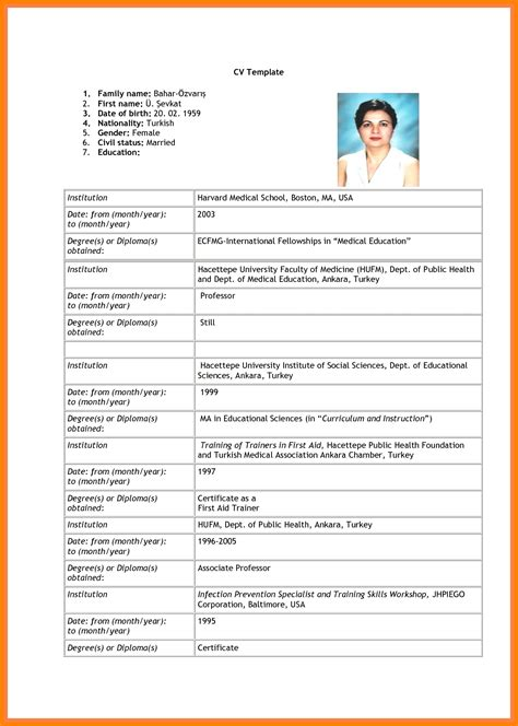 resume format sle for application 6 sle of blank resume for application edu techation