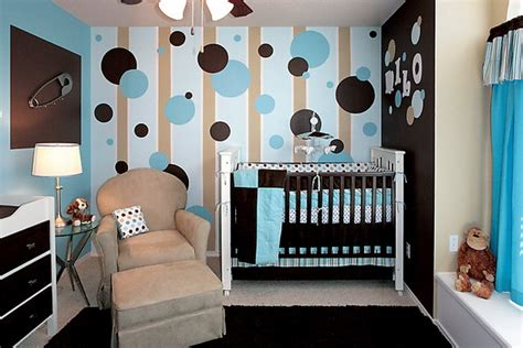 baby boy room in a blue brown colors modern interior and decor ideas