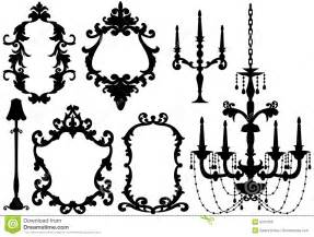 Luxury Wall Design - antique picture frames and chandelier royalty free stock