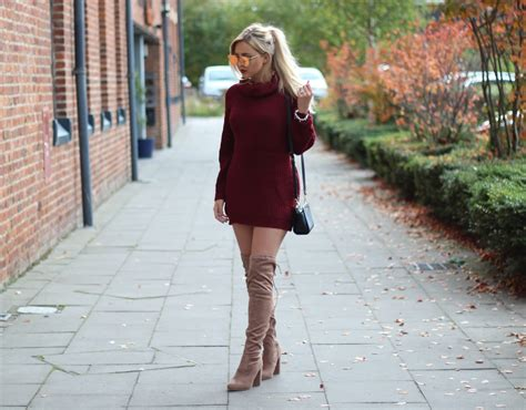 autumn style jumper dresses knee high boots couture