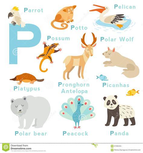 lettere con animali animali della lettera di p messi alfabeto inglese