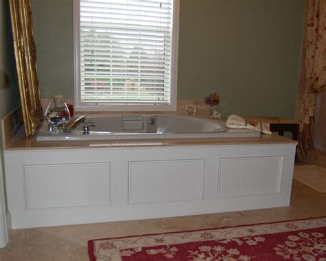 bathtub panel white panel tub moulding traditional bathroom other