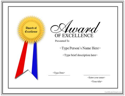 special certificates award for excellence with ribbon