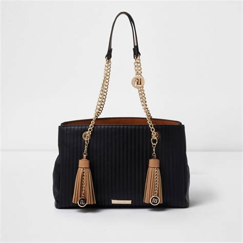 black quilted tassel chain tote bag shopper tote bags