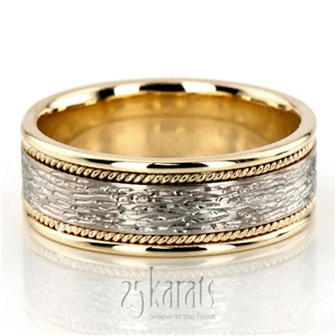 Handmade Wedding Bands For - 14k gold antique finish handmade wedding ring hm024