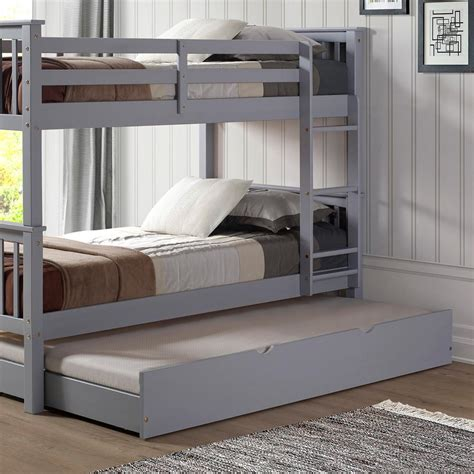 solid wood trundle bed walker edison furniture company grey solid wood twin trundle bed hdtw40gy the home depot