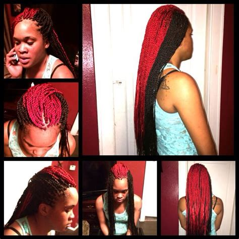segelese twist with two tone color small long two toned red and black senegalese twists