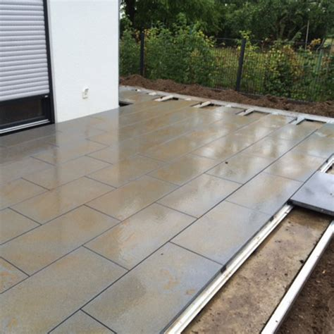 verlegung terrassenplatten profilsystem
