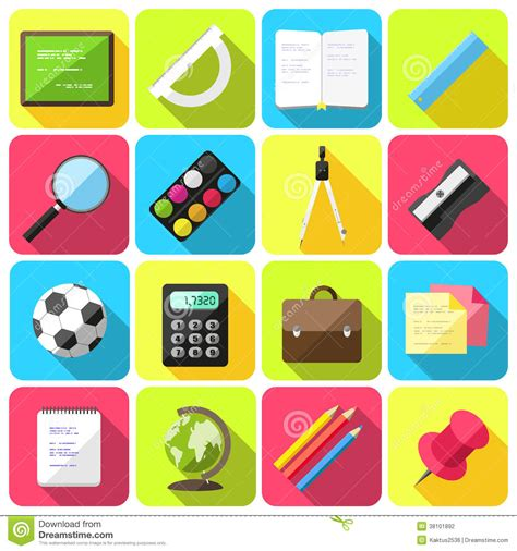 school supplies icon set back flat style school icons stock vector illustration of icon