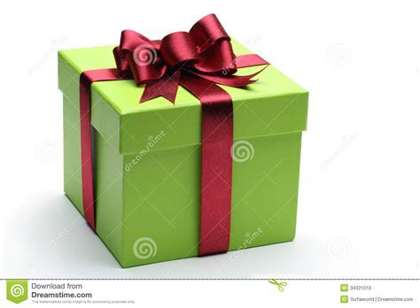 Green Gift Box Stock Photo   Image: 34321010