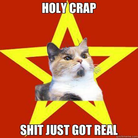 Shit Just Got Real Meme - holy crap shit just got real cat meme cat planet cat