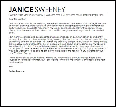 Wedding Planner Assistant by Wedding Planner Cover Letter Sle Livecareer